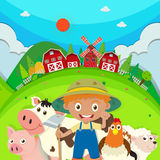 Granjero y animales del campo en la granja Imagen de archivo libre de regalías