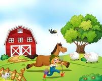 Granjero y caballo Foto de archivo libre de regalías