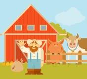 Granjero y su granja Fotos de archivo