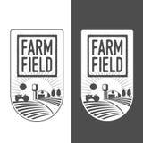 Granjeros con las insignias de los campos stock de ilustración