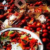 Granjeros del recién hecho del mercado de los tomates del tomate Fotos de archivo