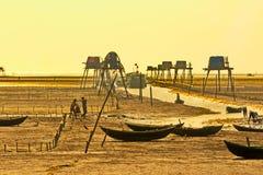 Granjeros que trabajan en la playa Éste es una de las granjas más grandes de la almeja de Vietnam septentrional fotografía de archivo libre de regalías