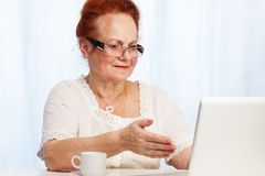 Granma che ha divertimento nel Internet Immagine Stock