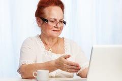 Granma que se divierte en el Internet Imagen de archivo