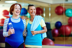 Grannies in gym Stock Photo