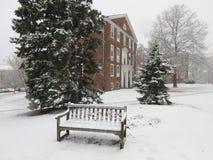 Grannskapbänk i snön arkivbild