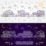 Grannskapen med hem illustrerade vit och purpurfärgad bakgrund Royaltyfri Fotografi