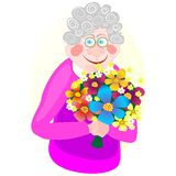 Granny. Smiling granny with nice posy Royalty Free Stock Images