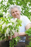Granny. Behind bouquet of white flowers Stock Photo