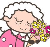 Granny-concept-2-brown-69. Cartoon Old Lady Reminding Old Memorable Moments Vector design Royalty Free Stock Photos