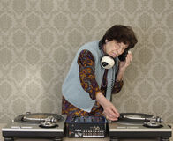Granny dj. A very funky elderly granny dj! go lady Royalty Free Stock Images