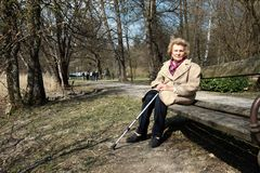 Granny Enjoying Sun! Stock Photo