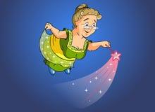 Granny fairy. Cartoon illustration. Granny fairy with a magic wand Stock Images