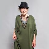 Granny female at studio Royalty Free Stock Image