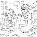 Granny and granddaughter. Black-and-white illustration (coloring page): grandmother talks to her granddaughter Stock Images
