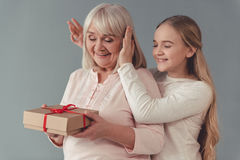 Granny and granddaughter royalty free stock photos