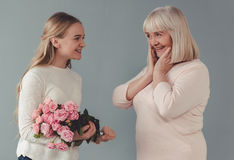 Granny and granddaughter Stock Images