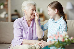 Granny and granddaughter royalty free stock images