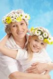 Granny and grandddaughter. Image of grandmother and granddaughter having fun Stock Images