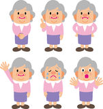 Granny. Grandmother of smile cry surprised variety of facial expressions Stock Photos