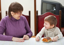Granny and grandson Stock Photography