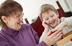 Granny and grandson Stock Photos