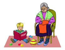 Granny and grandson. Grandmother knits, grandson sits on the floor and reading a primer, vector illustration Royalty Free Stock Image