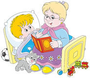 Granny and grandson reading fairytales vector illustration