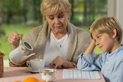 Granny and grandson. Sitting at the table royalty free stock images