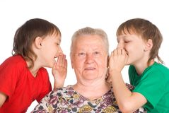 Granny with grandsons Stock Image