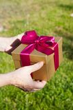 Granny hands with gift box on green background Royalty Free Stock Images