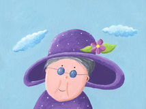 Granny with hat. Illustration of Granny with big purple hat Royalty Free Stock Image