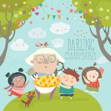 Granny and her grandchildren with cake. Vector illustration Stock Image