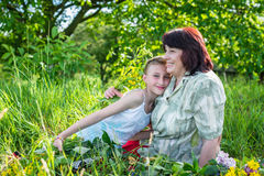 Granny with her granddaughter Royalty Free Stock Image
