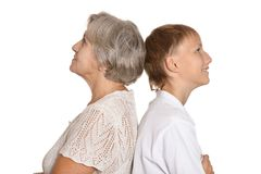 Granny and her  grandson Royalty Free Stock Photo