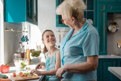 Granny and her little helper royalty free stock image