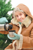 Granny with hot tea under fir Stock Image