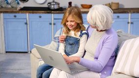 Granny and little girl using laptop stock video