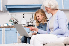 Granny and little girl using laptop Stock Image
