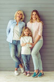 Granny, mom and daughter stock photos