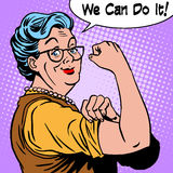 Granny old woman gesture we can do it. The power of confidence pop art retro style Royalty Free Stock Photos