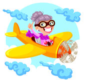Granny pilot. Cartoon old lady flying an airplane Stock Photography