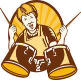 Granny Playing The Drums Retro Woodcut Stock Image