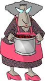 Granny and a pot of berries. This illustration that I created depicts an old woman carrying a large pot Stock Photography