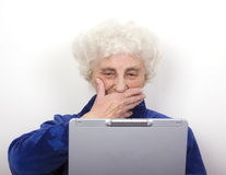 Granny Reads Bad News Stock Image