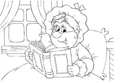 Granny reads a book. Black-and-white illustration (coloring page): grandmother reading a book in her bedroom Royalty Free Stock Images