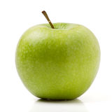 Granny Smith. Variety of apple from low perspective isolated on white stock image