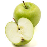 Granny Smith. Variety of apple from low perspective isolated on white Royalty Free Stock Photo