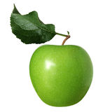 Granny smith apple. Granny smith green apple with leaf isolated on white Stock Images