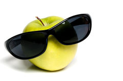 Granny Smith Apple with Sunglasses Stock Images